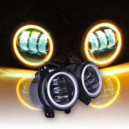 Wholesale Off Road Jeep - 4 Inch Led Fog Lights Yellow Amber Halo Ring DRL For Jeep Wrangler 97-17 JK TJ LJ Off Road Fog Lamps