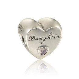 Wholesale Pandora Daughter Bead - 925 Sterling Silver beads Daughter Heart Charm With Pink Cz Beads & Jewelry Making Forever Family Fits Pandora Bracelets