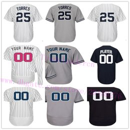 Wholesale road number - Custom NYK 25 Gleyber Torre Any Name Any Number Customized Home Away Road White Pinstripes Navy Blue Gray Personalized Baseball Jerseys 5XL