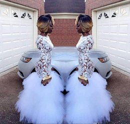 Wholesale Lavender Dresses For Girls - 2018 African White Mermaid Lace Prom Dresses for Black Girls Long Sleeves Ruffles Tulle Floor Length Plus Size Evening Prom Gowns Vestidos