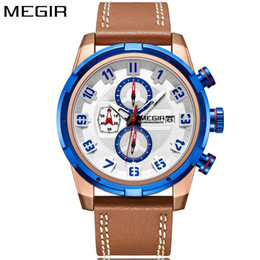 мужские золотые браслеты Скидка MEGIR New Fashion Blue Gold Watch Men Quartz Brown Leather Band Mens Watches Top  Waterproof Sport Watch Wrist Clock