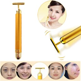 rejuvenation massager Promo Codes - New Arrival Beauty 24K Gold Energy Vibration Bar Facial Firming Slimming SPA Roller Massager Anti-aging Skin Lifting