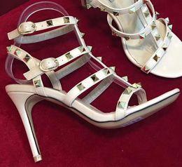 Wholesale classic stiletto high heels - Patent Leather Heel Shoe Garavani Brand Classic Thrill Heel 9cm Luxury Dress Wedding Shoes Sexy Brand shoes Cross Band Sandals