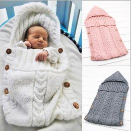 Discount hooded cotton baby blanket - Knitted Newborn Baby Sleeping Bag Knitted Crochet Hooded Wrap Swaddling Blanket Winter Warm Sleeping Bag