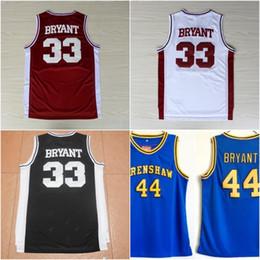 ed03e0431 33 Kobe Bryant Lower Merion Rosso Nero Bianco Jersey Uomo Kobe Blu  Hightower Crenshaw High School Bryant Maglie basket
