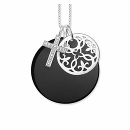 Colar de pingente de ônix preto on-line-Prata arabesco ônix preto disc cruz ornamento chokers colares pingentes, moda pingente de colar de jóias para as mulheres
