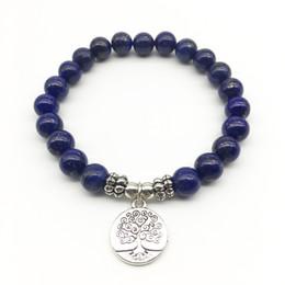 9fae1429360e SN1328 Moda Mujeres `s Pulsera Lapis Lazuli Joyería de Moda Hecho A Mano  Árbol de la vida Pulsera de Yoga al por mayor