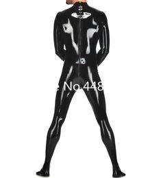 Dos enchufes online-Traje de látex con calcetines, traje de goma de látex para hombre, con dos formas, cremallera trasera, color negro, tamaño del enchufe