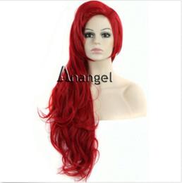 parrucche dei capelli della sirena Sconti Mermaid Ariel Wig Wavy Red Full Cosplay  Parrucche da donna 8f784fc2458