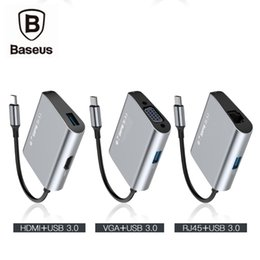 Wholesale Usb Hub Rj45 - Baseus USB C Typc-c Adapter Hub Type c To Usb Jack SD TF Card HDMI VGA RJ45 Ethernet Port For New Macbook Pro Chromebook Mi air