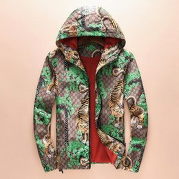 Wholesale Green Winter Coat Men - Winter autumn flower tiger print jackets men new luxury brand windbreaker men high street men sport jacket coats free shipping