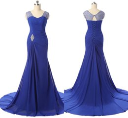 Wholesale Foreign Bride - Free Shipping Formal Evening Dresses Blue Strapless Chiffon Slim Bride Long European And American Foreign Trade Party Dresses HY018