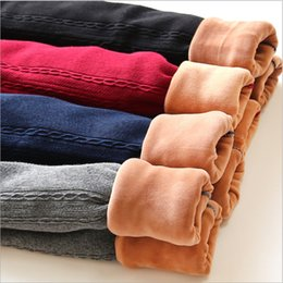 Leggings grises de punto online-Otoño Invierno Pantalones adolescentes pantalón flaco 2017 gris negro espesar pantalones calientes niños polainas de punto Otoño Nuevo