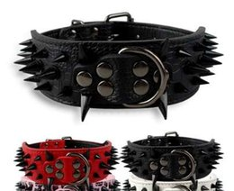 """Wholesale leather collar for dogs spikes - 2"""" Wide Cool Sharp Spiked Studded Leather Dog Collars 15-24"""" Adjustable For Medium Large Dogs Pitbull Mastiff Boxer Bully 4 Size"""