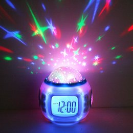 Stelle proiettore orologio online-Home Decor Musica Starry Star Sky Digital Clock Led Proiettore Proiettore Alarm Clock Calendar Night Light Cambiare colore