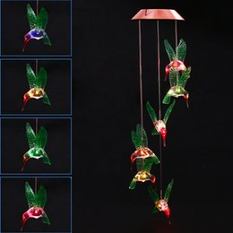 Canada Carillon À Vent De Mode LED Lumière Solaire Couleur Changeante Colibri Suspendu Jardin Jardin Décoration De La Maison Offre