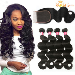Wholesale Light Medium Brown Hair - Brazilian Body Wave Human Hair Bundles With Closure Lace Closure With Bundles Cheap Brazilian Hair Weave Gaga queen