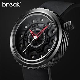 Wholesale Miyota Quartz - BREAK Mens Watches Top Brand Luxury Sport Watch Japan MIYOTA Silicone Strap Clock Men Quartz Watches Casual Creative Wristwatch