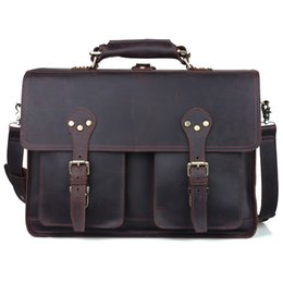 "Wholesale Tiding Leather Bag Men - TIDING Men 16"" laptop bag leather handbags designers brand high quality large italian carry on bag for business trip 11021"