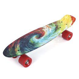 Скейтборд 22-дюймовый печатный рисунок Четыре колеса Street Long Fish Скейтборд с подшипником 100 кг Street Пластиковый скейтборд Для детей и взрослых от