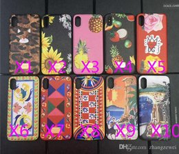 Wholesale iphone cases character - Luxury brand leather texture printed flowers pineapple character landscape phone case for iphone X soft side hard back cover for iphone 10