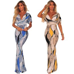 tamaños de vestir estándar Rebajas 2018 Tamaño grande Código estándar Impresión africana Vestido estilo Dashiki Vestido de manga corta con arrugas en V profunda y sexy Explosión