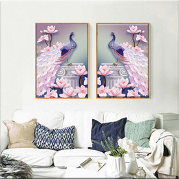 2019 dipinti a olio d'isola Commercio all'ingrosso 1 PZ 5D DIY Magnolia Peacock Diamante Pittura A Punto Croce Ricamo Mosaico Immagine Home Decor