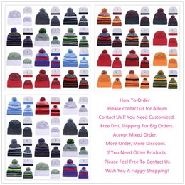 Wholesale Orange Black Beanie - Wholesale 2018 Men's Baseball Football Basketball Ice Hockey Winter Warm Cold Weather Pom Beanies Sideline Sport Knit Hats Caps, Mixed Order