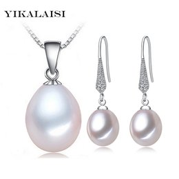Wholesale Freshwater Black Pearl Set - whole saleYIKALAISI 2017 natural freshwater Pearl necklace Sets pendant drop earrings 925 sterling silver jewelry for women best gifts