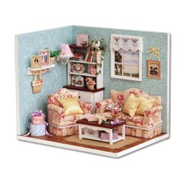Wholesale Miniature Diy Assemble Toys - Funny Assembling Model Kit DIY Handmade Wooden Doll House Toys Multi-Colored Miniature Dollhouse Adult Kids Toy With Furnitures