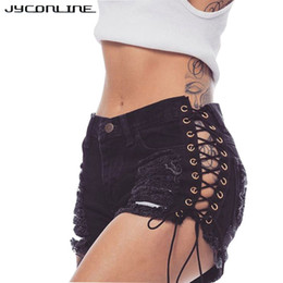 Wholesale Sexy Ripped Jeans - JYConline Sexy Short Jeans Women Lace Up Shorts Female High Waist Ripped Denim Shorts Women Plus Size Streetwear Summer