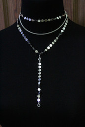 Wholesale Lariat Necklaces - Copper material sequins crystal necklace tassel pendant 3 layer Set Disc Lariat Pendant Necklaces Bohemian jewelery