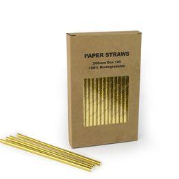 Papier en vrac en Ligne-7.75 pouces 20colours en vrac Biodégradable or vert noir blanc Papier potable Pailles en gros Fournitures de fête 100pcs / lot livraison gratuite