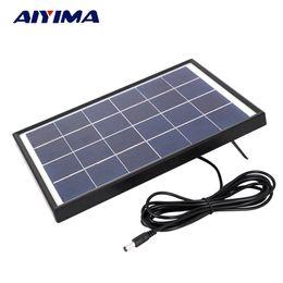Panel solar policristalino 6v online-Baterías Celdas, Panel AIYIMA 6V 6W Celdas solares policristalinas Panel solar Cargador de batería para caravana Barco Alimentación aplicada a CC