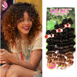 Wholesale Cheap Synthetic Hair Weave - 14-18inch Curly Weave Synthetic Extensions Sew in Hair WeaveColormix Deep Wave Synthetic easy install Wefts 6pcs Pack hair bundles cheap