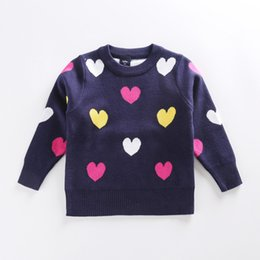 Wholesale heart sweater cardigan - 2016 children sweater heart pattern cardigan sweaters for girls sweet cute cotton long sleeve baby sweater for kids winter