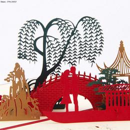 Discount laser cut christmas - 3D Pop Up Origami Paper Laser Cut Greeting Cards Creative Handmade Lover on Bridge Birthday Christmas Anniversary Postcards