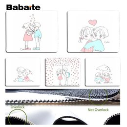 Wholesale boy cartoon images - Babaite Little boy and little girl cartoon image Silicone Pad to Mouse Game Size for 25x29cm Speed Mouse Pad