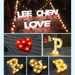 Casamento led luz decoração on-line-Nova DIY Carta Símbolo Sinal de Iluminação de Plástico Coração Luzes LED Casamento Dia Dos Namorados Confession casamento Partido Decorações