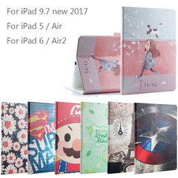 Wholesale Ipad Leather Stylus - New 2017 For iPad 9.7   Air   Air2 Fashion Painted Flip PU Leather For iPad 5 6 Air 2 Smart Case Cover + Stylus + Film