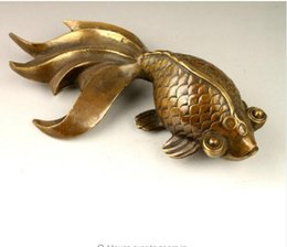 Wholesale Chinese Sculptures - Chinese ancient manual sculpture decoration copper statue of lovely goldfish