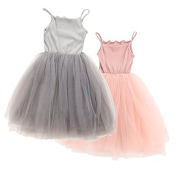 Wholesale Girls Sleeveless Harness Dress - Kids Girls 2018 New Dress Summer Sleeveless Girls Mesh Dress Casual Harness Ball Gown Wedding Party Princess Tutu Dresses