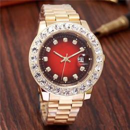 Bracelet en diamant de glace en Ligne-Relogio Gold Luxury Men Automatique Glacé Out Watch Mens Marque Watch Daydate Président Montre-Bracelet Rouge Affaires Reloj Big Diamond Montres Hommes