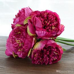 2019 piantare peonia Cinque mano peonie fatti a mano artificiali fiori di seta pianta decorazioni pratiche per la festa e cerimonia di nozze facile portare 13 5rx ff piantare peonia economici
