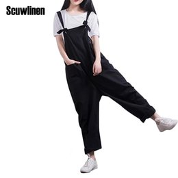 Wholesale Loose Trousers For Women - SCUWLINEN 2017 Women Solid Bib Overalls Plus Size Trousers for Women Wide Leg Pants Female Loose Casual Pantalon Femme S213