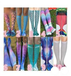 2019 meias de impressão animal para crianças Unisex moda sereia foto de impressão e joelho meias altas meninas crianças meias meia Peixe Escala Padrão Cosplay Meias meias de impressão animal para crianças barato
