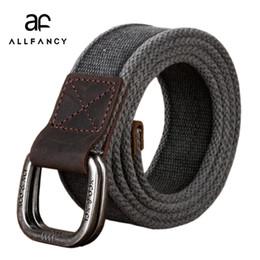 Wholesale Canvas Belt Ring Buckle - Men's Belt 2017 New canvas belt cotton the genuine double ring Army Tactical Waist Belt casual strap pure jeans weaving belts