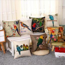 Wholesale parrot cushions covers - Parrot Throw Pillow Case 3D Printing Linen Decorative Pillowcase Square Cushion Cover Sofa Car Home Decor 7 Designs YW754