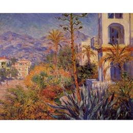 Casa de pinturas a óleo on-line-Villas de arte moderna em Bordighera 2 Claude Monet pinturas a óleo da lona pintados à mão decoração da parede
