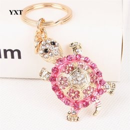 Wholesale Turtle Purse Bag - Tortoise Turtle Lovely Cute Crystal Rhinestone Charm Pendant Purse Bag Car Key Ring Keychain Party Creative Birthday Gift